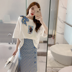 2019夏季新款套装少女宽松上衣波点半身裙两件套连衣裙5058