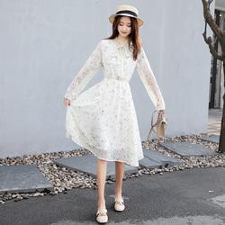 2019春夏新款雪纺长袖蝴蝶结连衣裙女气质仙女裙B27-219#