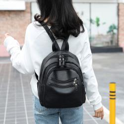 双肩包女软皮书包两用2019新款多功能韩版手提背包潮休闲大容量包SJB004