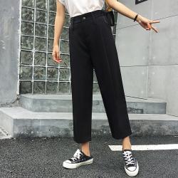 进店b败!黑色休闲裤女夏季薄款束脚显瘦坠感萝卜九分裤9052#