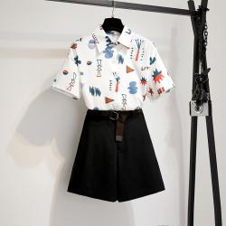 实拍 2019韩版chic卡通印花短袖T恤+高腰宽松显瘦阔腿裤休闲裤0061
