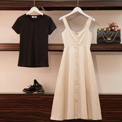 实拍2019夏季韩版学院风收腰高腰中长款背带裙+纯棉T恤 套装两件0022