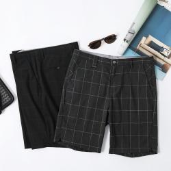西装短裤男五分裤宽松西裤夏季薄款英伦韩版港风格子5分休闲裤男 D268