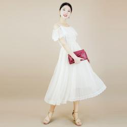歌美图 网纱甜美吊带露肩收腰连衣裙F6057