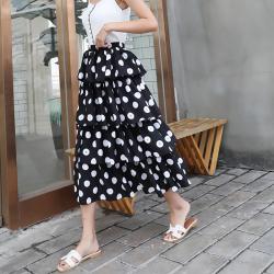 2020夏季网纱裙女波点半身裙韩版高腰显瘦A字裙蛋糕裙荷叶边长裙ymx1902