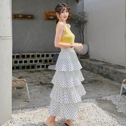 2020夏季新款波点半身裙女多层蛋糕裙雪纺仙女裙网纱A字百褶裙子ymx1904