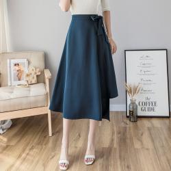 普瑞施 新款修身绑带收腰不规则半身裙 9833