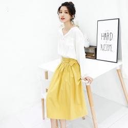 智创 纯棉缩褶气质半身裙个性腰部中长款半身裙