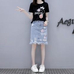 燁柬 新款優雅修身印花T恤+破洞牛仔半身裙套裝 601