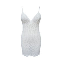 LAFRONTERA 2019年新款 夏款浪漫雷丝性感修身吊带连衣睡裙31445