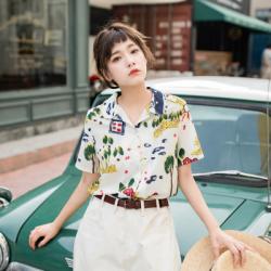 韩国馆 2019夏新款短袖衬衫豹纹花衬衫衬衣女 1863#