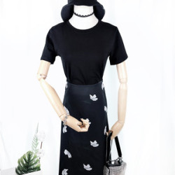 黑羽白 2019夏季女装韩版短袖露背T恤+缎面中裙包臀半身裙套装女质感品质 2558