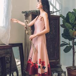 花溪 rose萋萋藕粉色原创印花显瘦鱼尾吊带裙 6057#