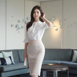 心怡 5263#2019新款女装喇叭袖雪纺百搭上衣