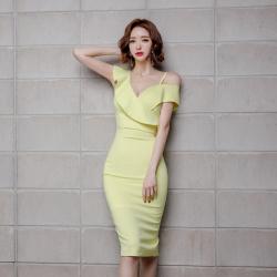 心怡 5236#2019新款女装露肩收腰显瘦包臀连衣裙