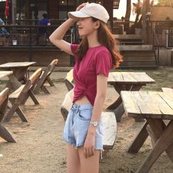 猴子小姐 2019ins夏装新款 纯色百搭收腰显瘦圆领短袖T恤女