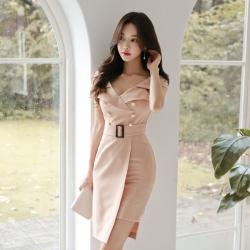 心怡 5290#2019新款女装西装领不规则包臀连衣裙