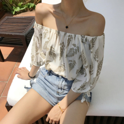 猴子小姐 2019夏天港味叶子印花百搭一字领雪纺衫上衣度假旅游衬衫T恤