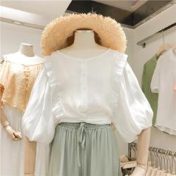 猴子小姐 韩国2019夏装新款复古清新雪纺衫女荷叶边蝙蝠袖绑带小短款上衣
