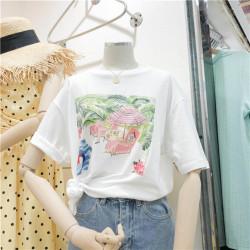 猴子小姐 2019夏天新款圆领百搭chic海滩女生印花短袖T恤女宽松显瘦上衣367#