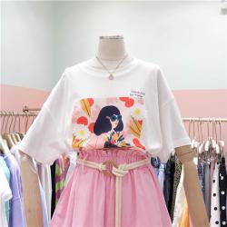 猴子小姐 韩国19夏新复古时尚立体刺绣花朵女孩印花图案白色短袖T恤女358#