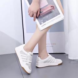 新款女鞋圆头系带平底休闲板鞋网状透气舒适网红百搭基础小白鞋 1903