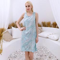 舒适透气人棉抽象印花图案无袖连衣裙 4905