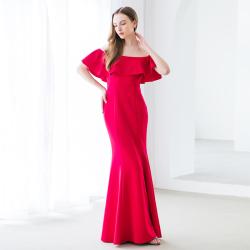 Imago Dei 欧美时尚一字肩鱼尾高贵优雅性感针织晚礼服 Img19D005