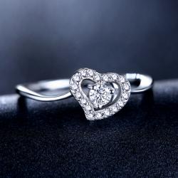 爱心戒指心形镂空简约时尚镶嵌5A锆石戒指 PHR0021