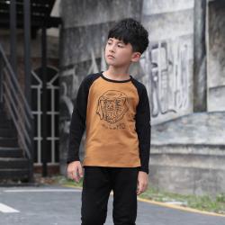 衫匙號 秋季新款男童装长袖拼接撞色潮流中大男童长袖T恤 A3312041