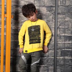 衫匙號 男童装侧开叉不规则印花潮中大男童长袖T恤 2112237