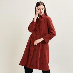红石尚品  2019年秋冬新款 创意字母中长款外套薄风衣-OM96Q019