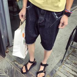 黑羽白特价夏季男裤日系原创五分牛仔裤男士磨破翻边直筒牛仔短裤男潮流