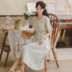 普瑞施 2019夏季新款细致柔软棉纺面料显瘦V领格子连衣裙 x3785
