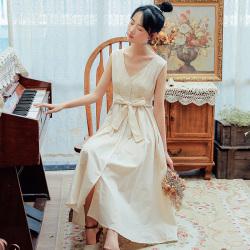普瑞施  2019夏季新款细致柔软棉纺面料显瘦V领连衣裙 x3784
