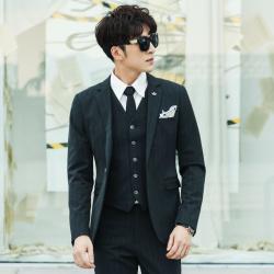 变身 新款男西装秋冬人字纹底条纹休闲商务礼服西装外套 A03