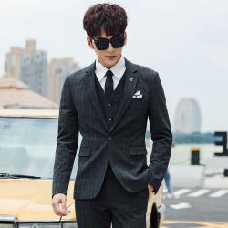 变身 新款男西装商务上班正装时尚新款多线格纹休闲西服套装 A05