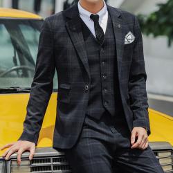 变身 新款男西装西服套装男士青年修身商务休闲职业正装英伦格秋冬新款西服 A09