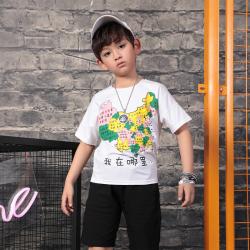 衫匙號 潮童地图印花短袖T恤 2211057