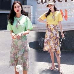 普瑞施 2019夏季新款丝带搭配印花套装裙 1153(套装)