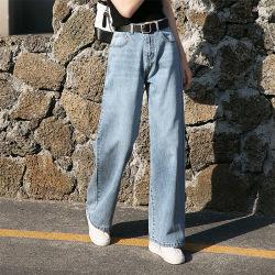 米歇尔 牛仔裤女2019春夏季欧美复古蓝水洗宽松显瘦百搭高腰垂感阔腿裤女 3550#