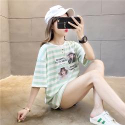 普瑞施 2019夏季新款字母图案时尚百搭潮条纹T恤 K5302