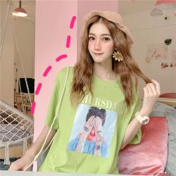普瑞施 2019夏季新时尚款牛油果绿宽松T恤  J7239