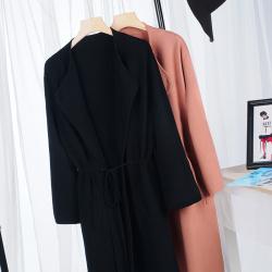 预售 新款中长款修身时尚简约外套冬季纯色显瘦百搭瘦身长袖大衣 J040