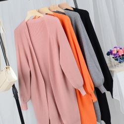 预售 新款女中长款泡泡袖针织开衫外套 8495
