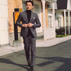 UNDERCROXX 时尚气质男士西装套装两粒单排扣外套+西裤 5351