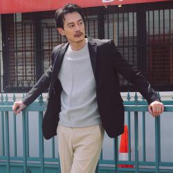 UNDERCROXX 时尚气质男士西装一粒双排扣外套  5235
