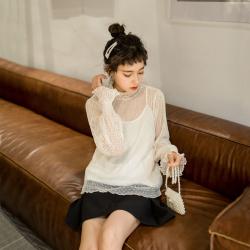韩国馆蕾丝长袖打底衫上衣女1030#