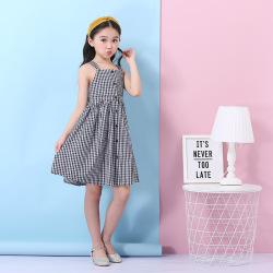 厂家批发女童连衣裙夏 2019新款棉新公主格子裙童裙