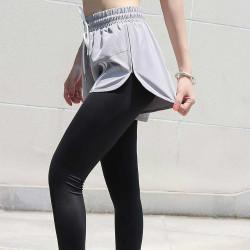 假两件跑步速干健身裤 打底瑜伽运动裤 弹力训练紧身裤女外穿夏薄   K8259